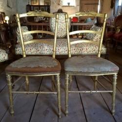 pairechaises dorées napoleon III