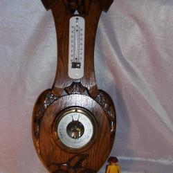 Barometre thermometre ancien art deco émaillé bois sculpté