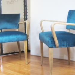 paire de fauteuils bridges velours bleu canard