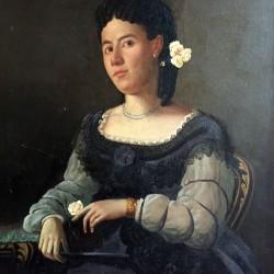 Grande huile sur toile XIXe portrait de femme