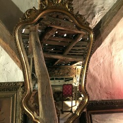 Miroir biseauté cadre bois doré