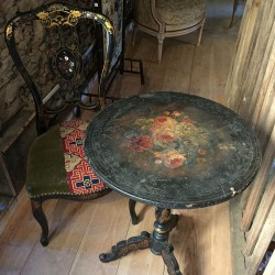 Guéridon basculant Napoleon III et sa chaise