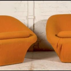 Paire de fauteuil design Pierre Paulin, édition Artifort