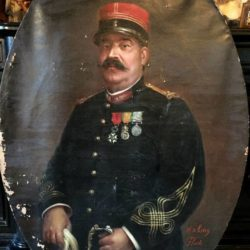 Très grande huile sur toile, portrait d'un militaire en uniforme