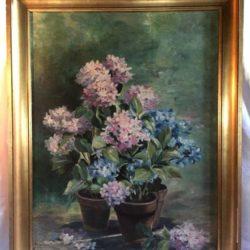 Huile sur toile Bouquet d'hortensias.  Margueritte Tamarelle 1910