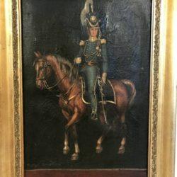 """Huile sur toile """"Militaire à cheval"""" Peter Bauker (?)"""