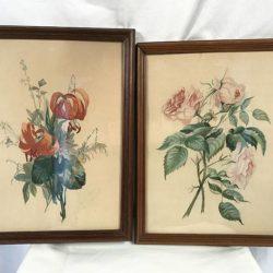"""Deux aquarelles """"Fleurs"""" en pendant signées Jeanne Moreau 1879"""