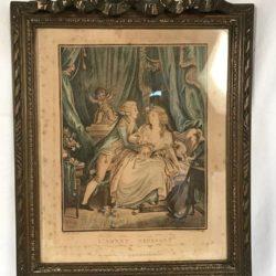 Gravure couleur cadre de style Louis XVI