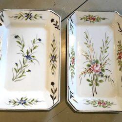 Deux plats octogonaux porcelaine épaisse  fin XIXe