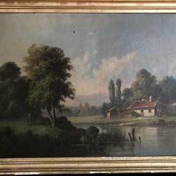 Huile sur toile encadrée. Paysage fin XIXe