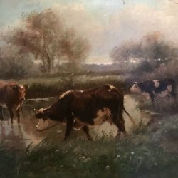 """Aymar Alexandre PEZANT (1846-1916)  """"Les vaches à la mare"""" Huile sur toile"""