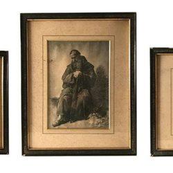 série de 3 reproductions dans des cadres Napoleon III