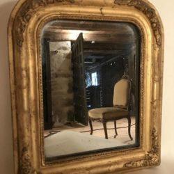 Miroir bois doré motif coquille style Louis XVI