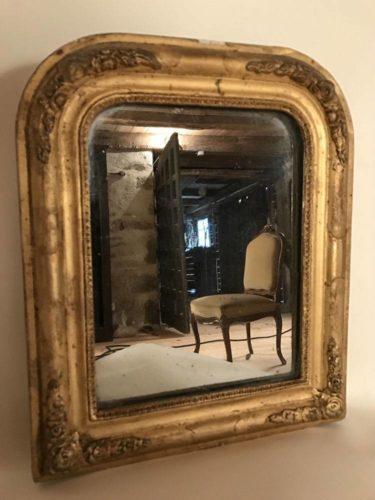 Adorable petit miroir ancien cadre stuqu et dor for Miroir cadre dore