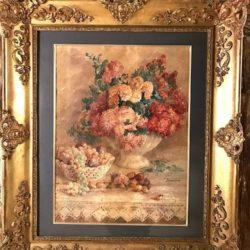 Aquarelle bouquet de fleurs signée Desmaisons.