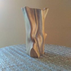 Vase imitation faux bois par Grandjean-Jourdan, années 1960