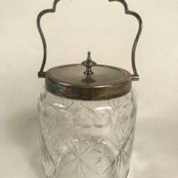 Pot à biscuits en cristal taillé et monture métal argenté