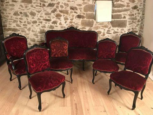 Salon Napoleon III bois noirci, velours rouge