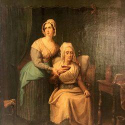 """Huile sur toile XIXe scène d'intérieur, """"Le Bouillon"""""""