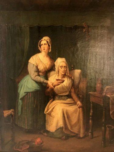 Huile sur toile xixe sc ne d 39 int rieur le bouillon for Scene d interieur blois