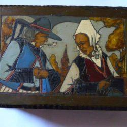 Boite en bois pyrogravée, Paul Fouillen, Quimper