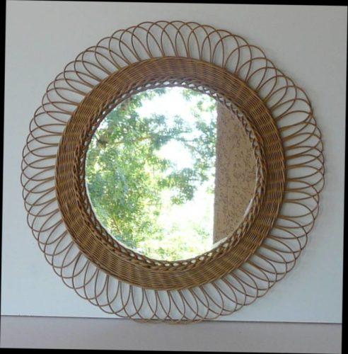 miroir vintage en rotin. Black Bedroom Furniture Sets. Home Design Ideas