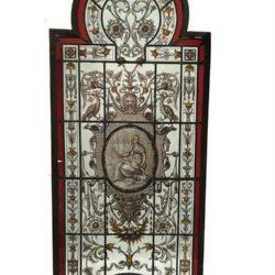 Exceptionnel lot de 4 vitraux signés Alphonse Vincent, datés 1888 Bruges.