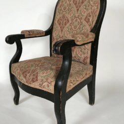 Rare, petit fauteuil d'enfant Napoleon III, bois noirci