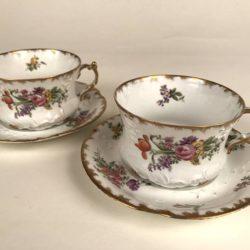 """""""Petit déjeuner"""", 2 tasses et sous-tasses porcelaine de Limoges"""