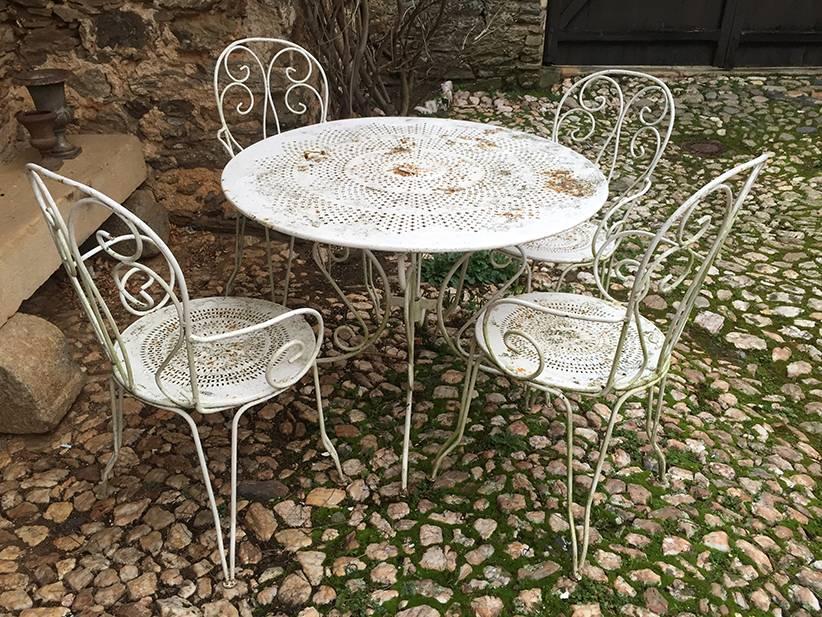 Ancien salon de jardin en fer forg les brocanteurs - Mobilier jardin fer forge pas cher saint denis ...