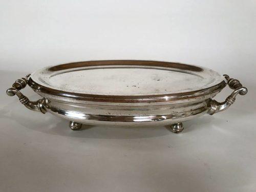 Chauffe-plat métal argenté, forme ovale
