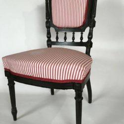 Chaise Napoleon III bois noirci, chauffeuse