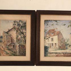 Paire d'aquarelles encadrées milieu XXème.