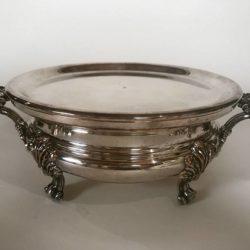 Chauffe-plat métal argenté, forme ronde