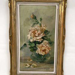 Huile sur toile encadrée, bouquet de roses 1923