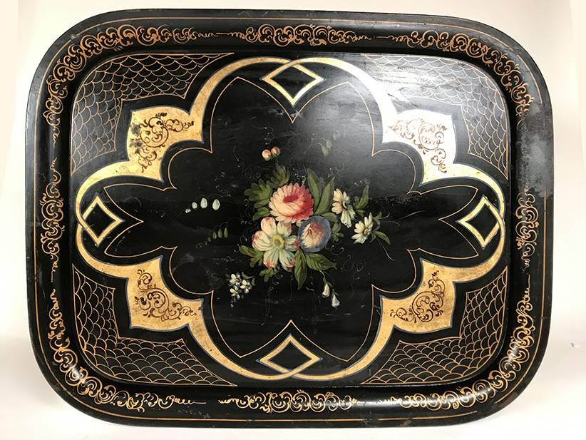 tr s grand plateau napoleon iii m tal peint les brocanteurs. Black Bedroom Furniture Sets. Home Design Ideas