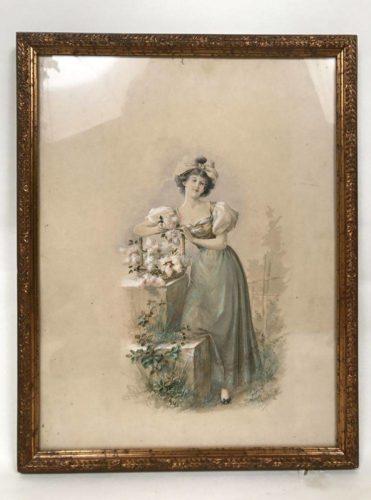 Jeune femme aux fleurs, aquarelle encadrée