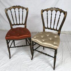 Paire de chaises de musique Napoleon III Bois noirci