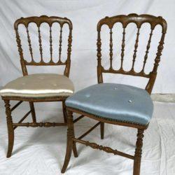 Paire de chaises de musique Napoleon III bois vernis