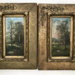 Paire de paysages. Huile sur bois, beaux encadrements