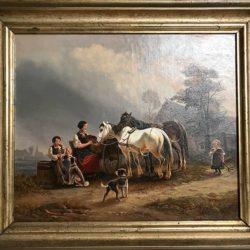 """Huile sur toile signée, encadrée """"scène animée de cour de ferme"""""""