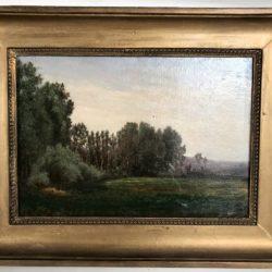 Huile sur panneau, paysage de campagne. XIXe