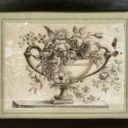 Fleurs dans un vase Medicis, ancien dessin encadré