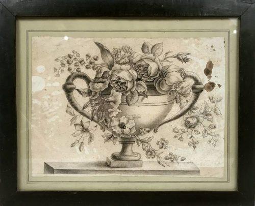 Fleurs Dans Un Vase Medicis Ancien Dessin Encadre