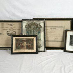 Deux grands cadres Napoleon III et 3 petits cadres