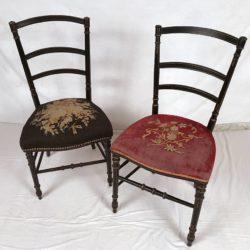 2 chaises de chambre Napoleon III, bois noirci