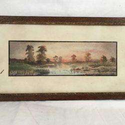 Petite aquarelle, paysage, encadrement bois.