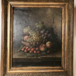 Grande huile sur toile, nature morte aux fruits vers 1880  Signée Sureau