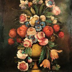 Bouquet de fleurs, huile sur toile marouflée sur panneau