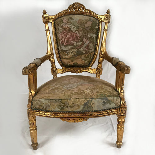 fauteuil bois doré